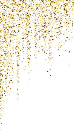 Gold triangles luxury sparkling confetti. Scattered small gold particles on white background. Emotional festive overlay template. Indelible vector background. Ilustração