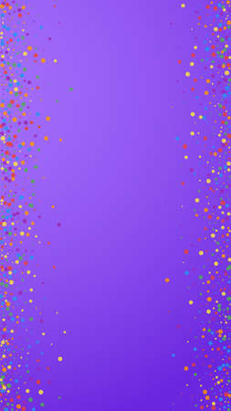 Festive exquisite confetti. Celebration stars. Rainbow confetti on violet background. Fine festive overlay template. Vertical vector background.