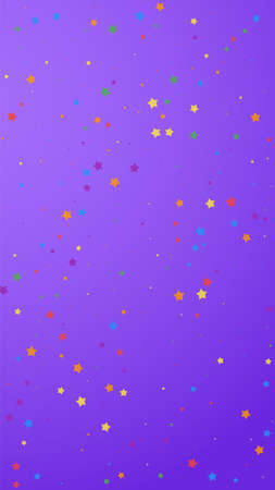 Festive valuable confetti. Celebration stars. Joyous stars on violet background. Good-looking festive overlay template. Vertical vector background. Ilustração