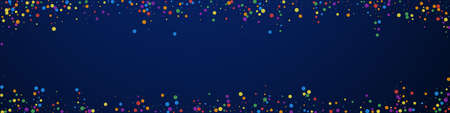 Festive surprising confetti. Celebration stars. Colorful confetti on dark blue background. Adorable festive overlay template. Panoramic vector background.