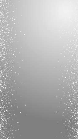 Amazing falling stars Christmas background. Subtle flying snow flakes and stars on grey background. Admirable winter silver snowflake overlay template. Wonderful vertical illustration.