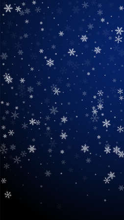 Sparse snowfall Christmas background. Subtle flying snow flakes and stars on dark blue background. Amusing winter silver snowflake overlay template. Stunning vertical illustration. Ilustração