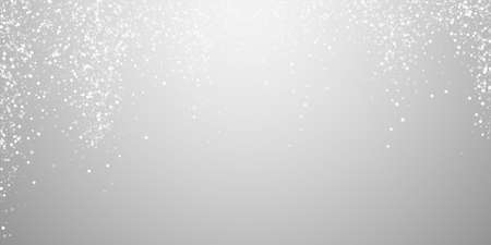 Random white dots Christmas background. Subtle flying snow flakes and stars on light grey background. Awesome winter silver snowflake overlay template. Immaculate vector illustration.
