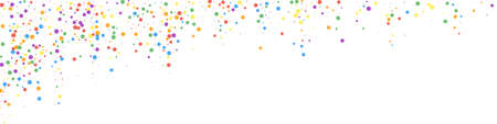 Festive cool confetti. Celebration stars. Colorful confetti on white background. Admirable festive overlay template. Panoramic vector background. Ilustração