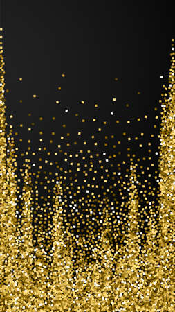 Gold glitter luxury sparkling confetti. Scattered small gold particles on black background. Eminent festive overlay template. Unequaled vector background.