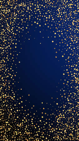 Festive mind-blowing confetti. Celebration stars. Gold confetti on dark blue background. Fascinating festive overlay template. Vertical vector background.