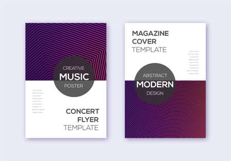 Modern cover design template set. Violet abstract lines on maroon background. Exquisite cover design. Sublime catalog, poster, book template etc.
