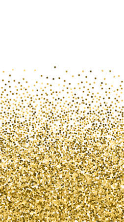 Gold glitter luxury sparkling confetti. Scattered small gold particles on white background. Energetic festive overlay template. Adorable vector background.