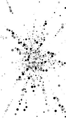 Scattered dense balck dots. Dark points dispersion on white background. Authentic grey spots dispersing overlay template. Pleasing vector illustration. Vector Illustration