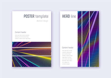 Geometric cover design template set. Rainbow abstract lines on dark blue background. Bizarre cover design. Alluring catalog, poster, book template etc. Illustration