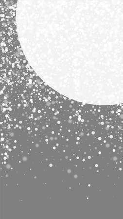 Magic stars Christmas background. Subtle flying snow flakes and stars on grey background. Amazing winter silver snowflake overlay template. Eminent vertical illustration. 矢量图像