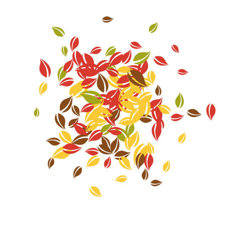 Falling autumn leaves. Red, yellow, green, brown chaotic leaves flying. Explosion colorful foliage on tempting white background. Bold back to school sale.