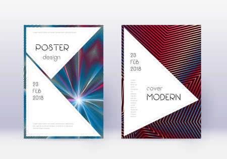 Stylish cover design template set. Red abstract lines on white blue background. Fascinating cover design. Bewitching catalog, poster, book template etc.
