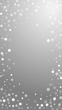 White dots Christmas background. Subtle flying snow flakes and stars on grey background. Actual winter silver snowflake overlay template. Modern vertical illustration.