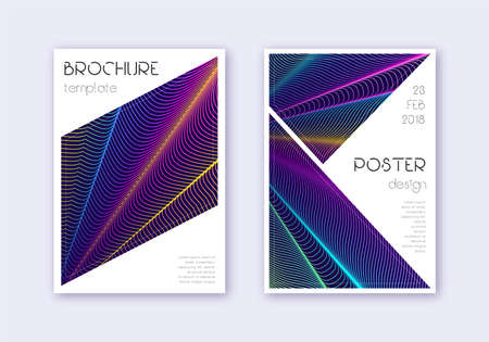 Triangle cover design template set. Rainbow abstract lines on dark blue background. Imaginative cover design. Fair catalog, poster, book template etc.