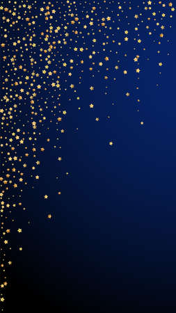 Gold stars luxury sparkling confetti. Scattered small gold particles on dark blue background. Elegant festive overlay template. Terrific vector background.