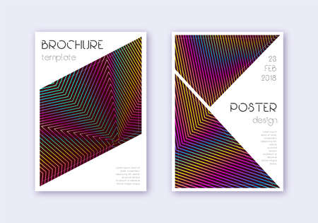 Triangle cover design template set. Rainbow abstract lines on wine red background. Imaginative cover design. Ravishing catalog, poster, book template etc.