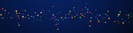 Festive imaginative confetti. Celebration stars. Joyous stars on dark blue background. Adorable festive overlay template. Panoramic vector background.