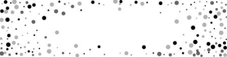 Scattered random black dots. Dark points dispersion on white background. Beauteous grey spots dispersing overlay template. Exquisite vector illustration.