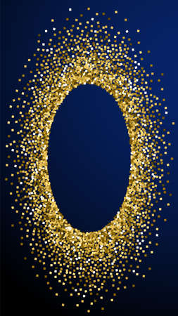 Gold glitter luxury sparkling confetti. Scattered small gold particles on dark blue background. Dramatic festive overlay template. Tempting vector background.