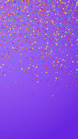 Festive adorable confetti. Celebration stars. Rainbow confetti on violet background. Great festive overlay template. Vertical vector background.