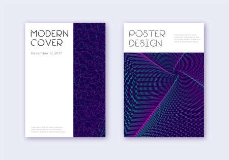 Minimal cover design template set. Neon abstract lines on dark blue background. Dazzling cover design. Amazing catalog, poster, book template etc.