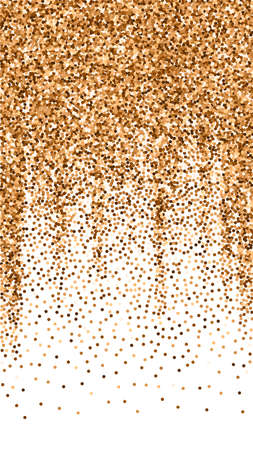 Red round gold glitter luxury sparkling confetti. Scattered small gold particles on white background. Enchanting festive overlay template. Breathtaking vector background.