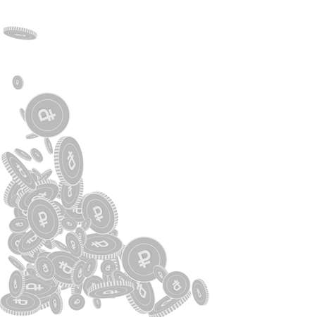Russian ruble coins falling. Scattered black and white RUB floating coins. Jackpot or success concept. Imaginative bottom left corner vector illustration.