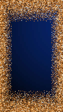Red round gold glitter luxury sparkling confetti. Scattered small gold particles on dark blue background. Enchanting festive overlay template. Trending vector background.
