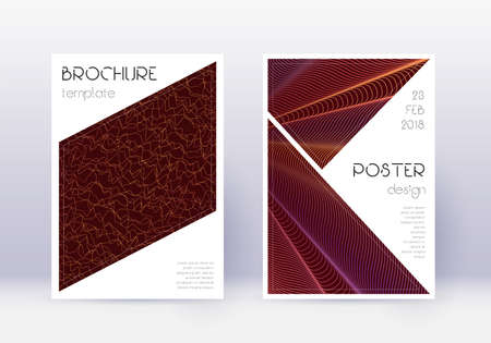 Triangle cover design template set. Orange abstract lines on wine red background. Imaginative cover design. Beauteous catalog, poster, book template etc. Ilustração