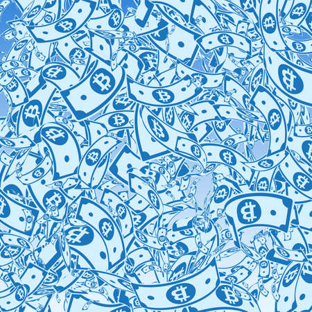 Bitcoin, internet currency notes falling. Messy BTC bills on blue sky background. Cryptocurrency, digital money. Adorable vector illustration. Tempting jackpot, wealth or success concept.
