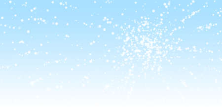 Beautiful falling snow Christmas background. Subtle flying snow flakes and stars on winter sky background. Astonishing winter silver snowflake overlay template. Bewitching vector illustration. Illusztráció