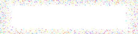 Festive imaginative confetti. Celebration stars. Colorful stars on white background. Alive festive overlay template. Panoramic vector background. Ilustração