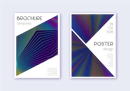 Triangle cover design template set. Rainbow abstract lines on dark blue background. Imaginative cover design. Extraordinary catalog, poster, book template etc.