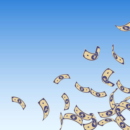Chinese yuan notes falling. Floating CNY bills on blue sky background. China money. Ecstatic vector illustration. Valuable jackpot, wealth or success concept.