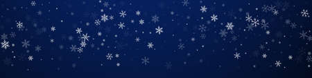 Sparse snowfall Christmas background. Subtle flying snow flakes and stars on dark blue background. Brilliant winter silver snowflake overlay template. Mesmeric panoramic illustration.