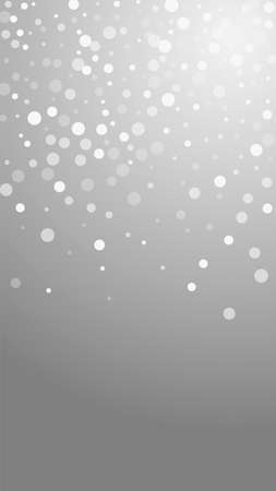 White dots Christmas background. Subtle flying snow flakes and stars on grey background. Appealing winter silver snowflake overlay template. Beautiful vertical illustration.