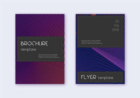 Black cover design template set. Violet abstract lines on dark background. Alive cover design. Favorable catalog, poster, book template etc. Векторная Иллюстрация