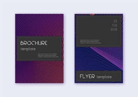 Black cover design template set. Violet abstract lines on dark background. Alive cover design. Favorable catalog, poster, book template etc.