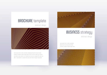 Minimalistic cover design template set. Gold abstract lines on maroon background. Emotional cover design. Sublime catalog, poster, book template etc.