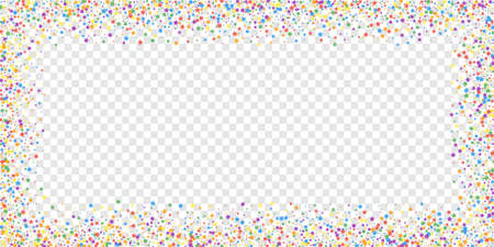 Festive confetti. Celebration stars. Rainbow bright stars on transparent background. Delightful festive overlay template. Incredible vector illustration.