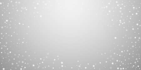 Random falling stars Christmas background. Subtle flying snow flakes and stars on light grey background. Bewitching winter silver snowflake overlay template. Astonishing vector illustration.