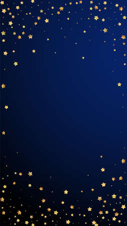 Gold stars random luxury sparkling confetti. Scattered small gold particles on dark blue background. Ecstatic festive overlay template. Curious vector background.  イラスト・ベクター素材