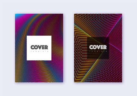 Hipster cover design template set. Rainbow abstract lines on wine red background. Creative cover design. Overwhelming catalog, poster, book template etc. Illusztráció