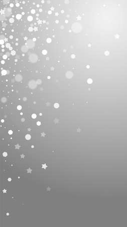 Magic stars sparse Christmas background. Subtle flying snow flakes and stars on grey background. Adorable winter silver snowflake overlay template. Imaginative vertical illustration.