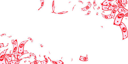 British pound notes falling. Messy GBP bills on white background. United Kingdom money. Beauteous vector illustration. Fabulous jackpot, wealth or success concept.