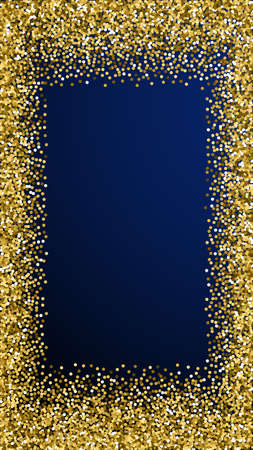 Round gold glitter luxury sparkling confetti. Scattered small gold particles on dark blue background. Enchanting festive overlay template. Unique vector background.