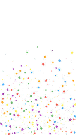 Festive neat confetti. Celebration stars. Joyous stars on white background. Graceful festive overlay template. Vertical vector background. Vettoriali