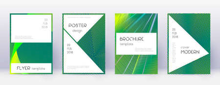 Stylish brochure design template set. Green abstract lines on dark background. Beautiful brochure design. Extra catalog, poster, book template etc. Vettoriali