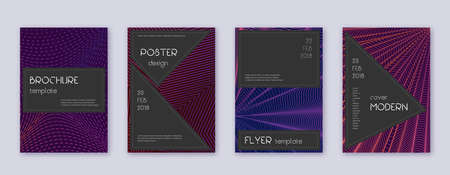 Black brochure design template set. Violet abstract lines on dark background. Admirable brochure design. Marvelous catalog, poster, book template etc.